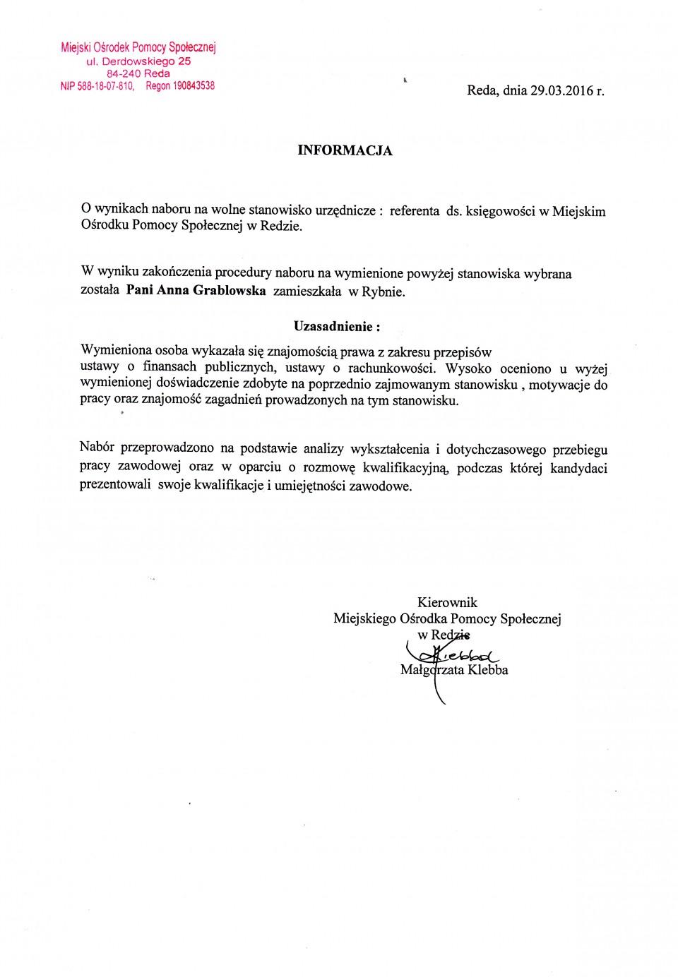 informacja o wynikach naboru na wolne stanowisko urzędnicze