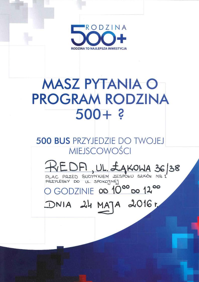 Bus Rodzina 500+ w Redzie 24 maja!