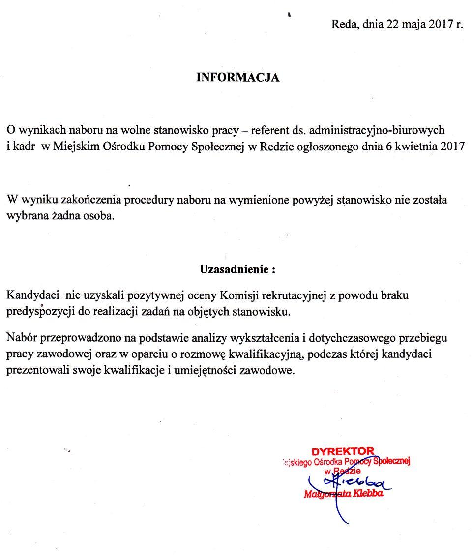 Informacja o wynikach naboru na wolne stanowisko pracy – referenta ds. administracyjno-biurowych i kadr w Miejskim Ośrodku Pomocy Społecznej w Redzie