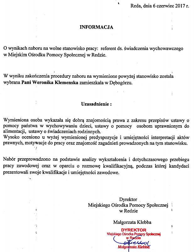 informacja o wynikach naboru na stanowisko urzędnicze – referenta ds. świadczenia wychowawczego