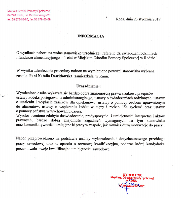 Informacja o wyniku naboru na wolne stanowisko urzędnicze