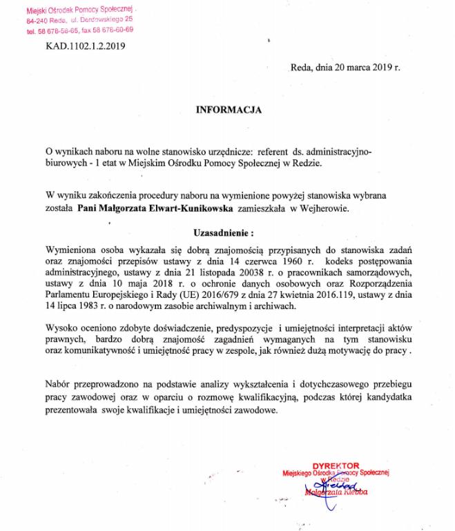 Informacja o wynikach naboru na wolne stanowisko urzędnicze – referent ds. administracyjno-biurowych w Miejskim Ośrodku Pomocy Społecznej w Redzie