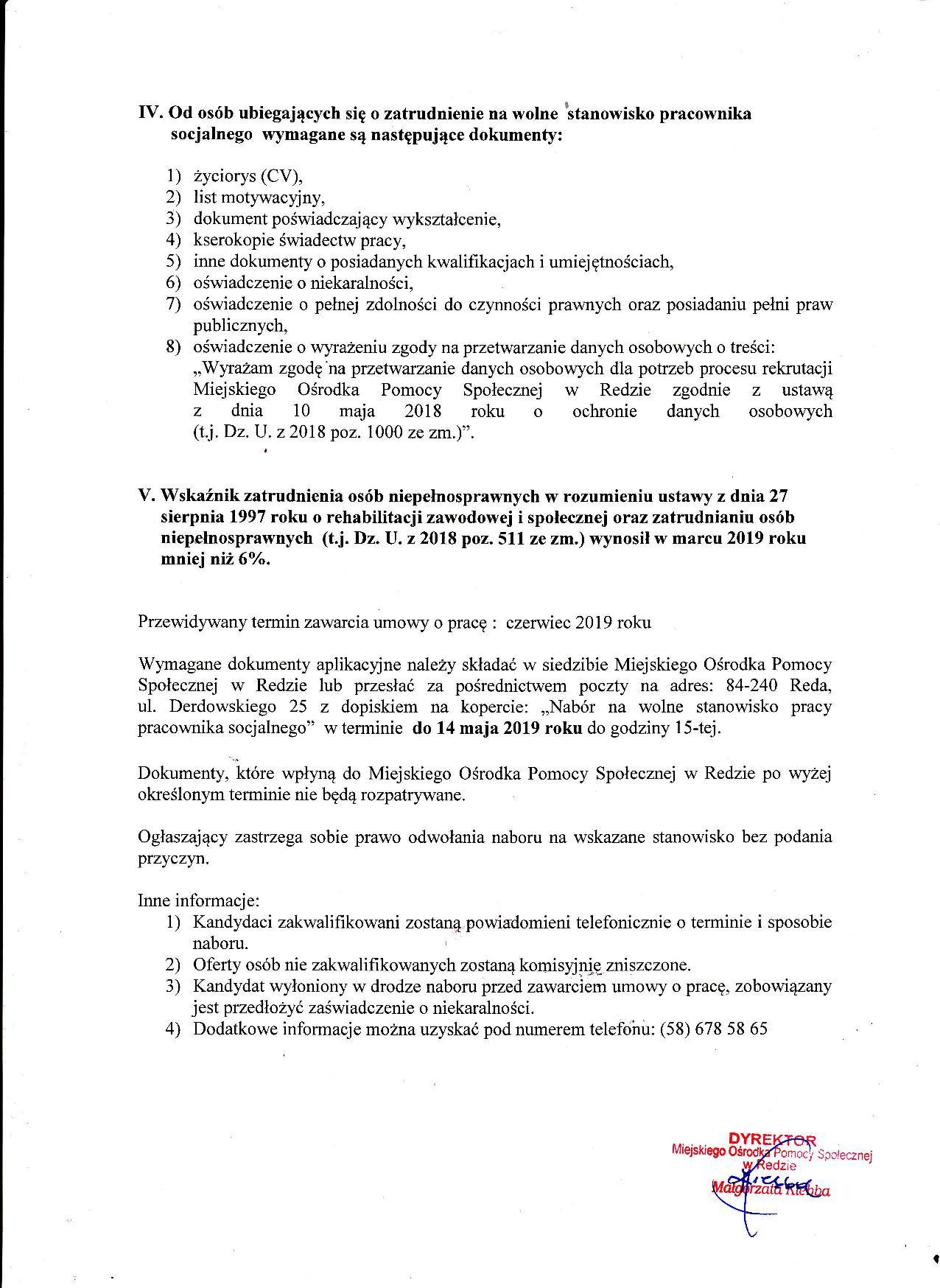 Ogłoszenie o naborze na wolne stanowisko pracy pracownika socjalnego w Miejskim Ośrodku Pomocy Społecznej w Redzie