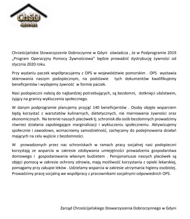 """Realizacja podprogramu 2019 """"Program Operacyjny Pomoc Żywnościowa"""" – oświadczenie ChSD Gdynia"""