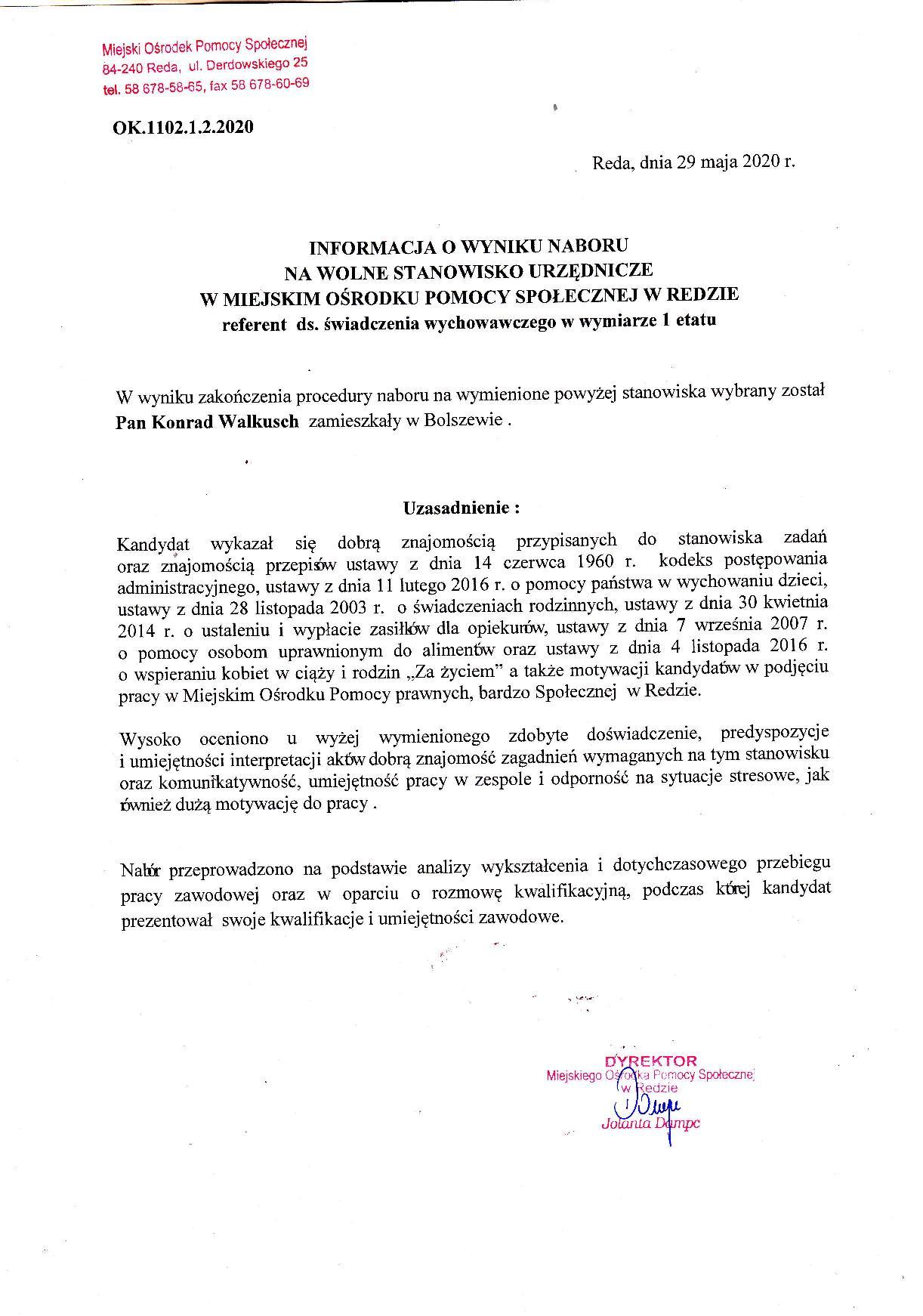 Informacja o wyniku naboru na wolne stanowisko urzędnicze w Miejskim Ośrodku pomocy Społecznej w Redzie – referent ds. świadczenia wychowawczego