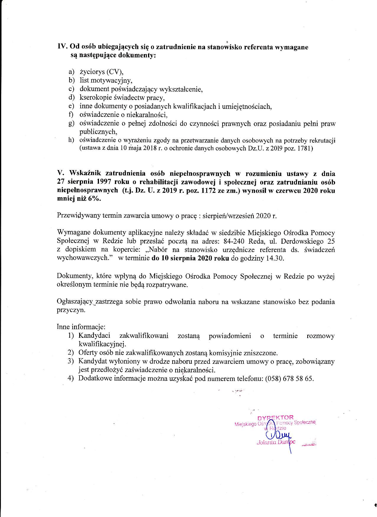 Ogłoszenie o naborze na Stanowisko urzędnicze referenta ds. świadczenia wychowawczego