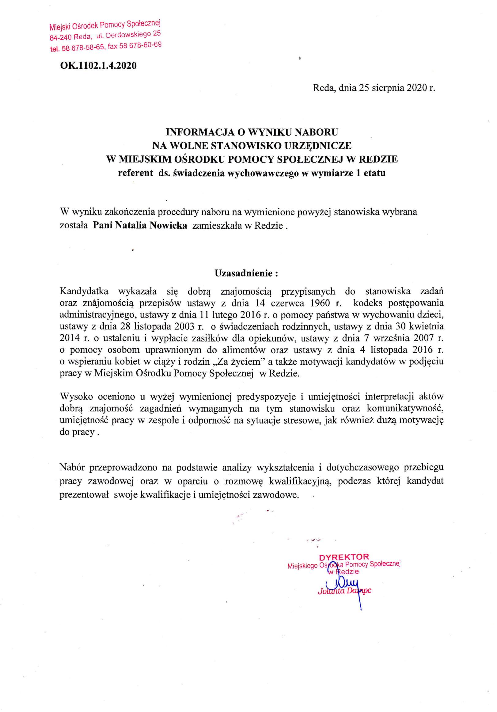 Informacja o wyniku naboru na stanowisko urzędnicze referent